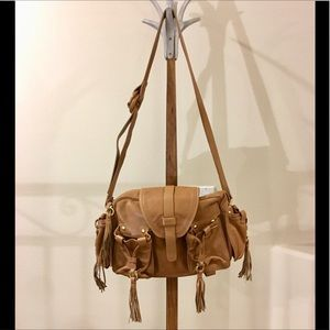 FERRAGAMO tan leather fringe purse, made in Italy